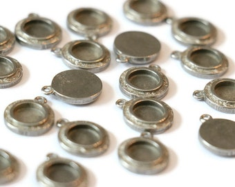 Piece of Tin small round pendant textured for making jewelry LoB-64 (20 pieces)