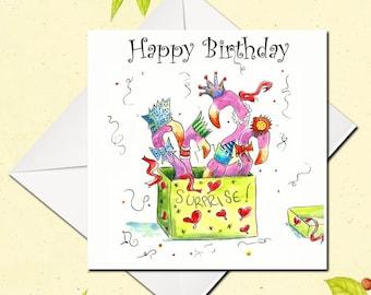 Birthday Card, Flamingo Birthday Card, Funny Birthday Card, Greetings Card