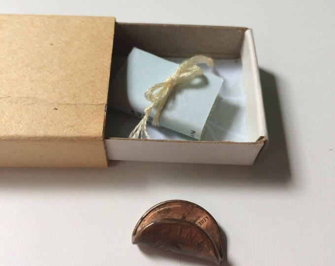 Trees / tiny original handmade artist book in decorative matchbox / tree poetry / five watercolor + ink tree illustrations