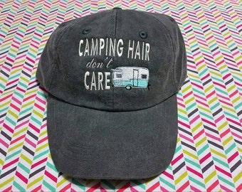 Camping Hair Don't Care Baseball Hat with Vintage 2 Window Camper