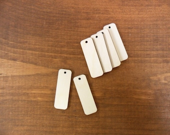 """Wood Rectangle Bar Rounded Blanks Laser Cut Wood Shapes 1 1/2"""" x 1/2"""" x 1/8"""" One Hole - 25 Pieces"""
