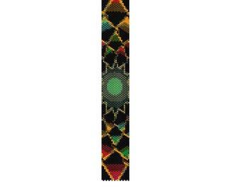 BPT0010 Thin Bracelet Pattern 10 Even Count Single Drop Peyote Bracelet PATTERN