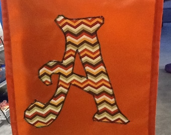 Your Choice Monogrammed Initial Handmade Garden Flag:  Initials A, B, D, R, T, or V - Various Patterns - Chevron, Owls, etc.
