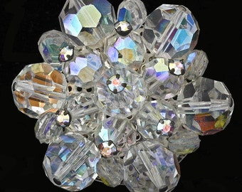 Vtg Crystal Bead Pin Faceted Aurora Borealis Finish Clear Rhinestone Accents
