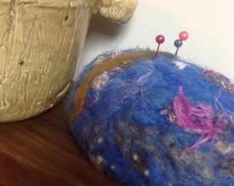 Pincushion Needle Felted royal blue wool