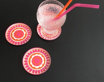 Set og 6 retro coasters in pink