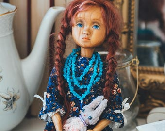 Art wooden doll Realistic dolls Artist doll Collectable interior doll OOAK doll Doll with turquoise Movable doll Hand carved doll Eco doll