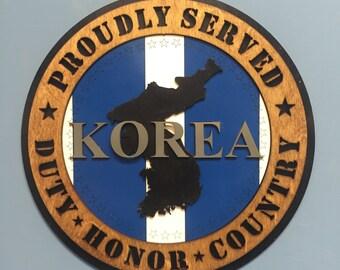"""Custom 12"""" Wood - Korea Map Ribbon Veteran - Wall Tribute - FREE SHIPPING"""