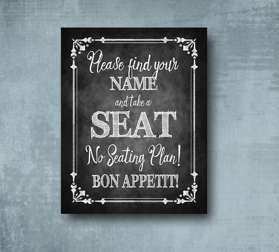 Printed Wedding Seating Sign, No Seating Plan chalkboard wedding sign, wedding seating sign, wedding signage, Cottage Charm Collection