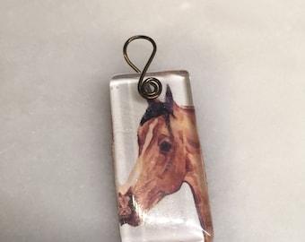 Bay Arabian Horse Glass Tile Pendant    Bay Horse Pendant    Horse Lover Gift   Horse Glass Pendant   Arabian Glass Pendant