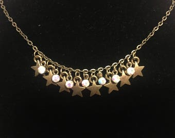 Antique Gold Star Charm Necklace