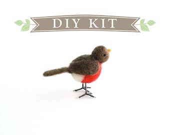 DIY Kit - Robin Needle Felting Kit - Needle Felted Animal Kit