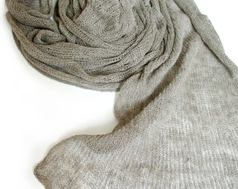 Knitted linen scarf, flax scarf,  summer scarf, grey linen scarf, gauzy scarf, loose knit scarf