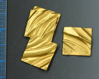 "Vintage brass textured 7/8"" square. Vintage stamping. Sold per pair. Beadwork, Jewelry making, Jewelry supply."
