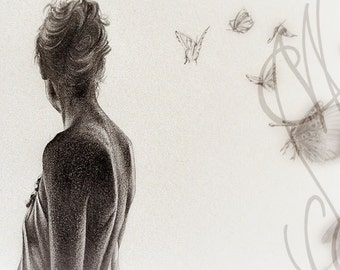 "Martinefa's original drawing presented in hand personalised frame - Daydream ""Songe"""
