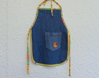 Child's Blacksmith Style Apron, Kid's Recycled Jean Apron, Upcycled Denim Jean Apron, Child's Cooking Apron, Art Apron, Kid's Apron (14)