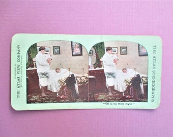 Oft in the Stilly Night Rare Antique Atlas Stereograph Card in Color Atlas View Company Chicago Vintage Steroview Card Collectible Photo