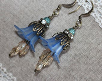 Blue Lucite Flower Earrings, Vintage Style Dangle Lucite Earrings