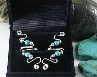 Silver Wire and 2bTurquoise Beads - Vine Ear Cuff - Sacred Spirals