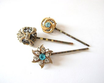 Something Blue No.92 - Vintage Blue Rhinestone and Fleur de Lys Hair Pin Set of Three, Bridal or Special Occasion