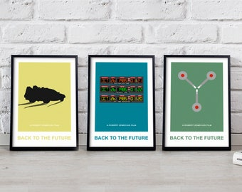 Back to the future poster set, Back to the future print Back to the future art Time machine print Delorean poster Flux Capacitor Gift poster
