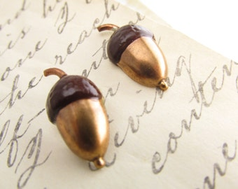 Acorn Earrings Fall nuts Pierced earrings acorns earrings vintage post earrings MyElegantThings