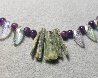 Green Kyanite and Amethyst Necklace