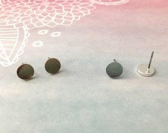 Circle stud earrings, solid circle earrings, tiny studs earrings, gift for her, simple stud earrings