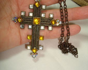 Vintage Antiqued Gold Tone Cross with Golden Jewels Necklace.