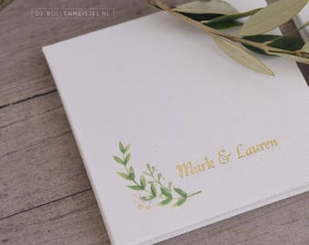 Concertina, Accordion photoalbum, Botanical linen with branch , photos 10x10cm, personalized with letterpress, wedding