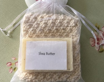 Organic Wash Cloth and Scented Soap Gift Set, Shea Butter Soap Bar With Hand knit Cotton Wash Cloth, Pamper Holiday Gift For Travel Friend