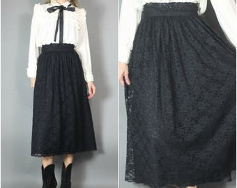 Vintage 80s 90s Laura Ashley Skirt Black Lace Witchy Gothic Victorian Western xs s 24
