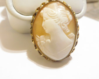 Vintage D' Abros 12k GF Hand Carved Shell Cameo Pendant Brooch