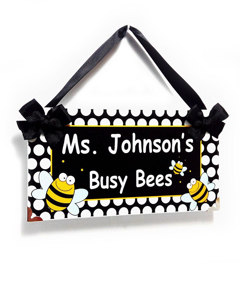 Personalized Teacher Name Classroom Door Sign Busy Bees Bee