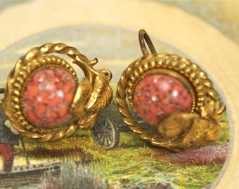 Vintage Pink Glass Earrings