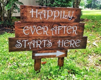 """Wedding rustic wood sign """"happily ever after"""""""
