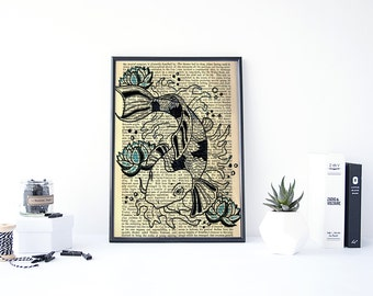 Koi Fish Art, Koi Art, Original Art, Koi Fish Painting, Asian Wall Art, Book Page Print, Original Art Prints, Asian Art, Digital Print