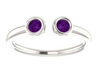 Amethyst Ring, Dual Stone Stacking Ring, February Birthstone, Sterling, 14K, 18K, or Platinum