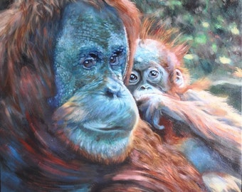 Orangutan 'Mother and Child' by H A May - Original Oil Painting - Huge!