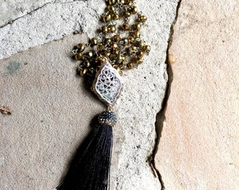 Black and Gold Rhinestone Tassel Necklace / Long Tassel Necklace on a Gold Beaded Chain / Gold and Silver Connector Pendant
