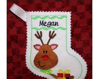 Reindeer Christmas stocking-embroidery machine design-completely sewn by machine