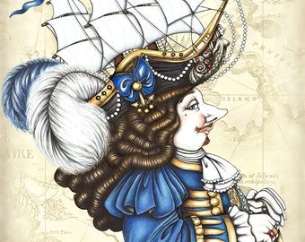 Royal Lordship Whimsical Portrait, Art Tile Print. Historical Edwardian Collectible Illustration. Nautical Steampunk Home Boat Décor Gifts.