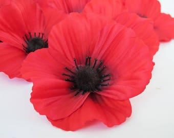 """50 Red Poppies Silk Artificial Flowers Silk Poppy 3.5"""" Balck Center Flower Floral Hair Accessories DIY Wedding Anemones SuppliesFake Anemone"""