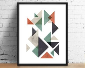 Triangles watercolor print Scandinavian Wall Art Minimalist Home Decor Triangles Modern Abstract Art Loft Wall Decor Printable art