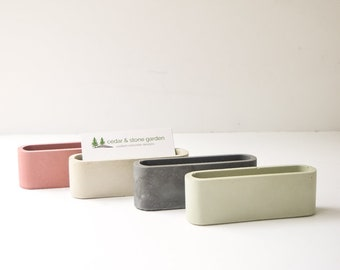 Desk card holder etsy search results favorite favorited add to added concrete business card holder modern desk colourmoves