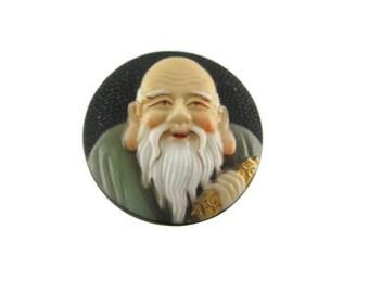 Toshikane FUKUROKUJU Button/ 7 Fortune gods Arita Porcelain /Seven Lucky gods 七福神 Shichi Fukujin / Seven Immortal gods / Feng Shui Wisdom