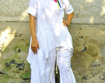 Oversize summer Top and Pants/White 100% Linen SET/Casual Top Pants Set/Loose tunic/Maxi tunic/White linen pants/Oversize set/Handmade/P1492