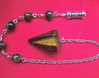 decorated pendulum, pagan gift, dowsing pendulum, beaded pendulum, faux tiger eye pendulum, alter tool, witches gift, gift for him