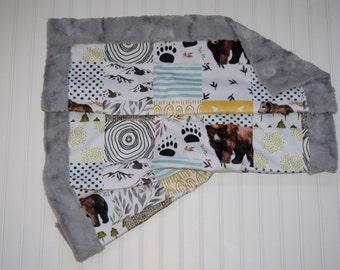Woodland Patchwork Stroller Blanket
