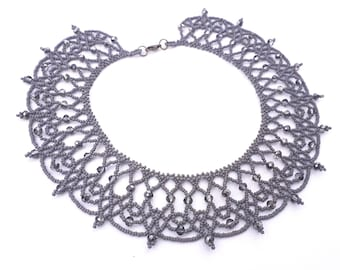 Gray seed bead lace necklace Collar necklace Beadwork statement necklace Wedding jewelry for bridesmaid Chunky openwork necklace Womens gift